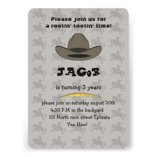 Convite do cartão de aniversário do vaqueiro para