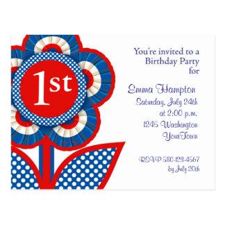 Convite do cartão do primeiro aniversario do bebê