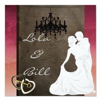 Convite do casamento COM estilo ANTIGO Convite Quadrado 13.35 X 13.35cm