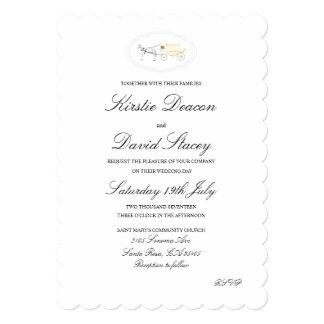 Convite do casamento com o gráfico do cavalo e da