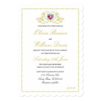 Convite do casamento com os gráficos do coração &