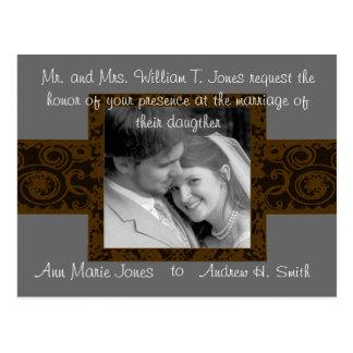 Convite do casamento com sua foto cartão postal