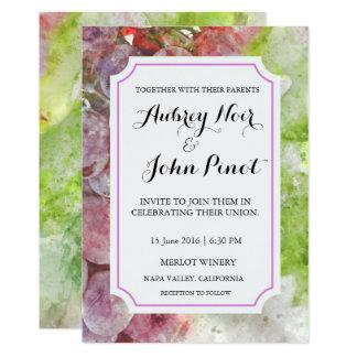 Cartão Convite do casamento da aguarela da adega ou do