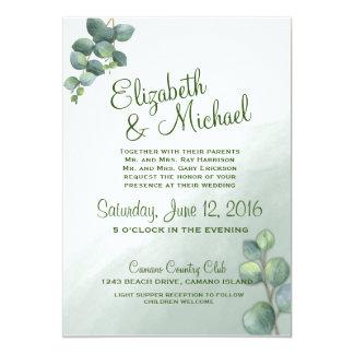 Convite do casamento da aguarela do eucalipto