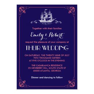 Convite do casamento da âncora do navio do vintage