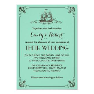 Convite do casamento da âncora do navio e do