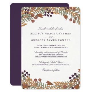 Convite do casamento da baga da colheita