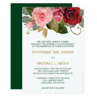 Convite do casamento da beira do rosa do vermelho