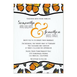 Convite do casamento da borboleta de monarca