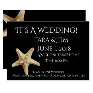 Convite do casamento da cena da praia