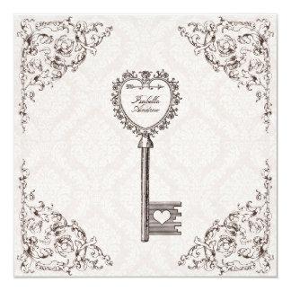 Convite do casamento da chave do amor do vintage
