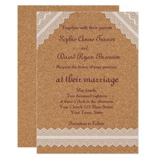 Convite do casamento da cortiça do vinho do laço