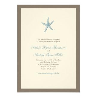 Convite do casamento da estrela do mar - AZUL