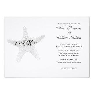 Convite do casamento da estrela do mar - preto