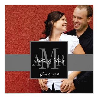 Convite do casamento da foto do casal de três