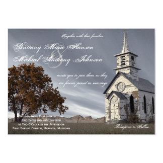 Convite do casamento da igreja do país do carvalho