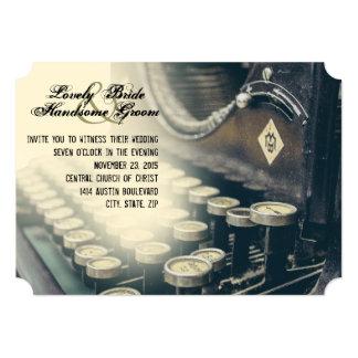 Convite do casamento da máquina de escrever do