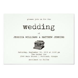 Convite do casamento da máquina de escrever e do