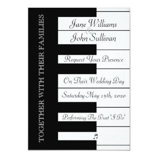 Convite do casamento da música do teclado de piano