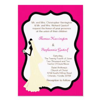 convite do casamento da noiva do rosa 5x7 quente