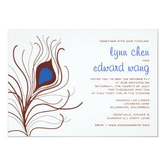 Convite do casamento da pena do pavão - azul