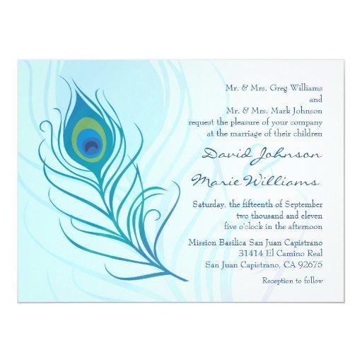 Convite do casamento da pena do pavão da cerceta convite 16.51 x 22.22cm