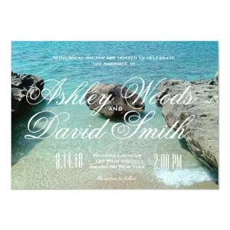 Convite do casamento da rocha da praia