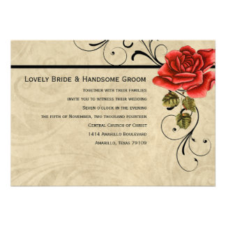 Convite do casamento da rosa vermelha do pergaminh