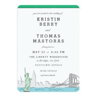 Convite do casamento da skyline da Nova Iorque