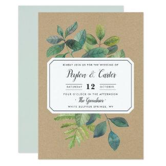 Convite do casamento de Botanica Kraft