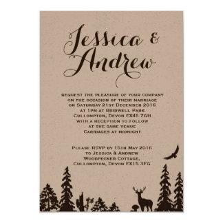 Convite do casamento de Brown Kraft da floresta