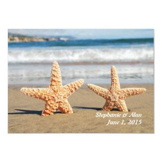 Convite do casamento de praia do casal da estrela