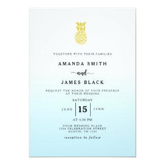 Convite do casamento do abacaxi do brilho do ouro