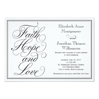 Convite do casamento do amor da esperança da fé da convite 12.7 x 17.78cm
