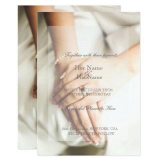 Convite do casamento do anel de diamante da noiva
