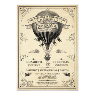 Convite do casamento do balão de ar quente do