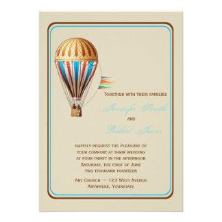 Convite do casamento do balão de ar quente do vint