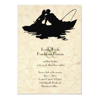 Convite do casamento do barco dos amantes da pesca