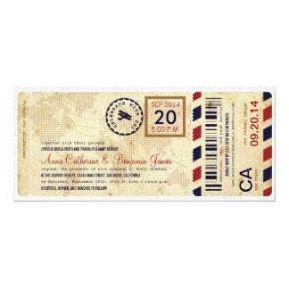 Convite do casamento do bilhete da passagem de convite 10.16 x 23.49cm