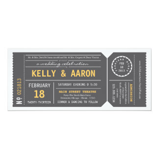 Convite do casamento do bilhete de teatro de