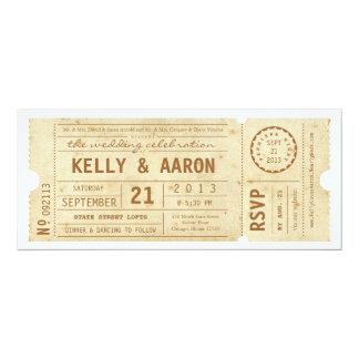 Convite do casamento do bilhete de teatro do
