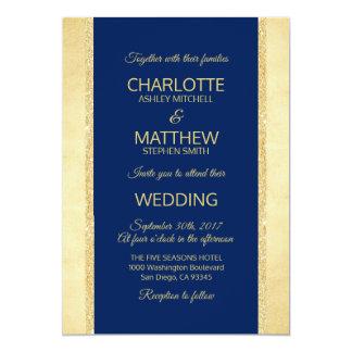 Convite do casamento do brilho da folha de ouro