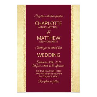 Convite do casamento do brilho da folha de ouro de