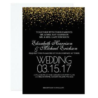 Convite do casamento do brilho do ouro
