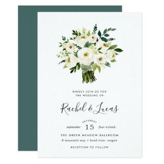 Cartão Convite do casamento do buquê do alabastro