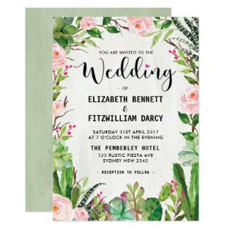 Convite do casamento do cacto do Succulent da