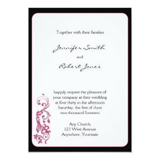 Convite do casamento do canto arredondado do rosa