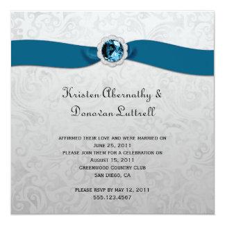 Convite do casamento do cargo da prata da gema da