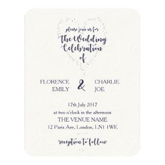 Convite do casamento do coração do marinho & do