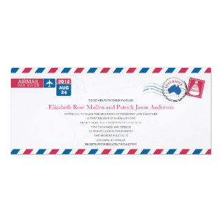 Convite do casamento do correio aéreo de Austrália Convite 10.16 X 23.49cm